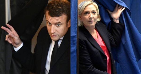 Election Présidentielle. Selon 4 instituts, entre 62 et 67% en faveur d'Emmanuel Macron dans la Presidentielle2017  Source RTBF