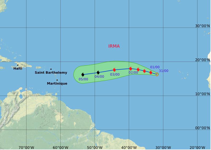 Météo. La tempête IRMA devient un ouragan et peut présenter un danger pour l arc antillais