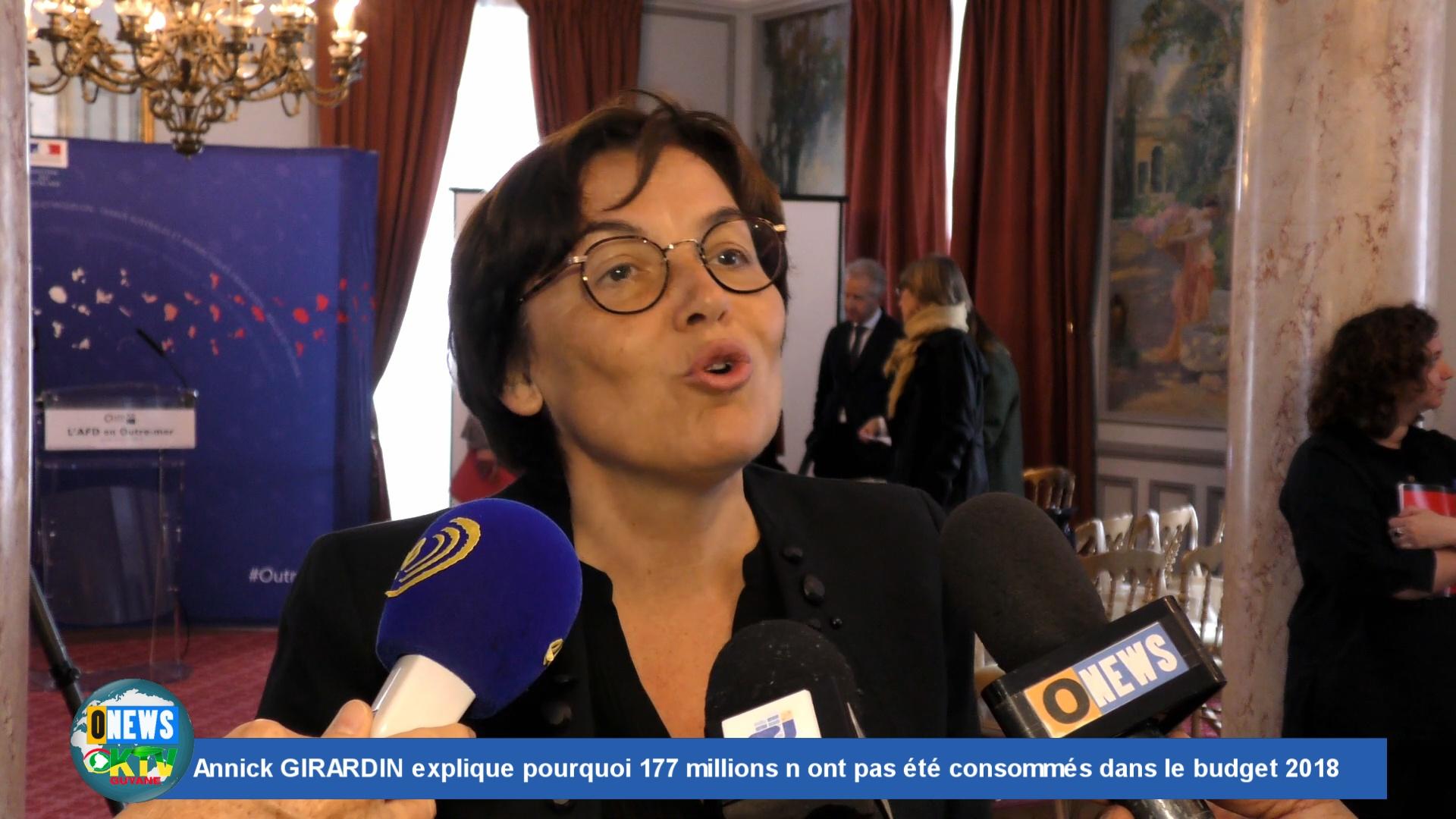 [Vidéo] HEXAGONE. Annick GIRARDIN Ministre des Outre mer explique pourquoi 177 millions n ont pas été consommés dans le budget 2018