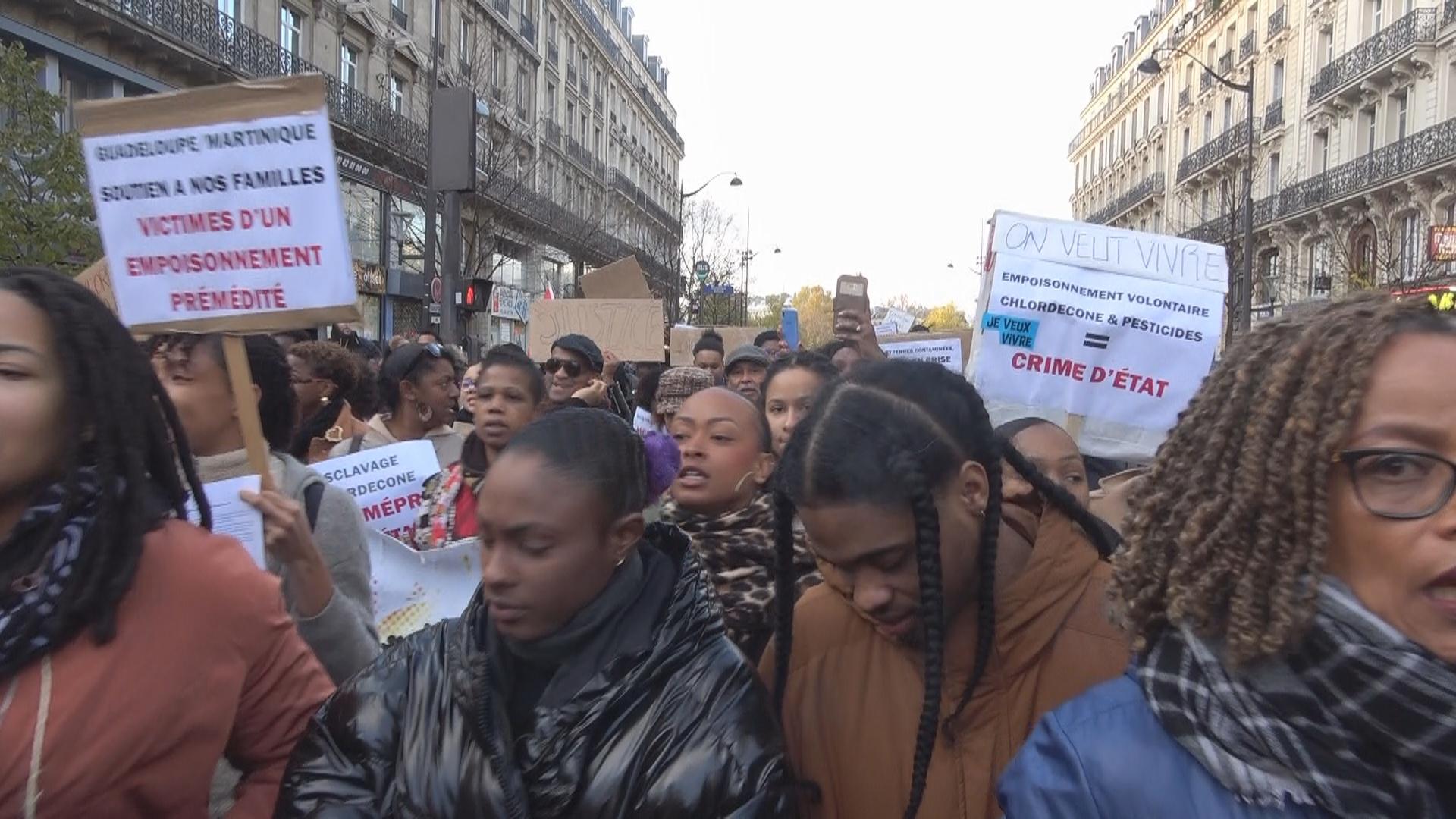[Vidéo] Eau, Chlordécone,Sargasses, CHU, Marche à Paris en soutien aux Antilles