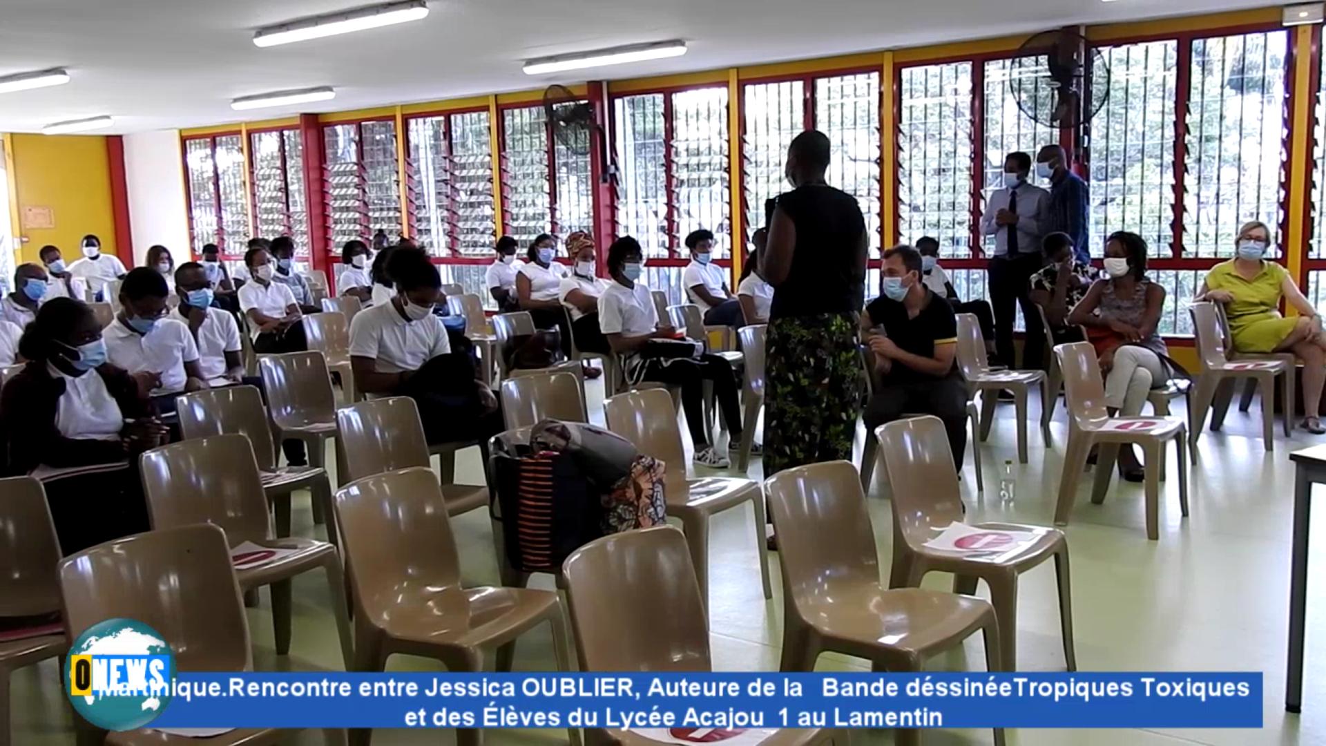 [Vidéo] Onews. Martinique. Jessica OUBLIER Auteure de la Bande dessinée Tropiques toxiques avec des élèves du Lycée Acajou1 au Lamentin