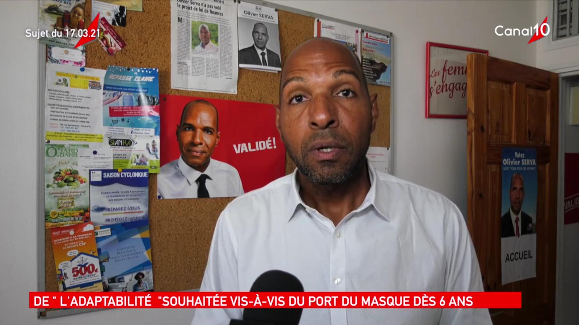 [Vidéo] Onews Guadeloupe. Le Député SERVA donne son avis sur le port du masque pour les élèves de 6 ans