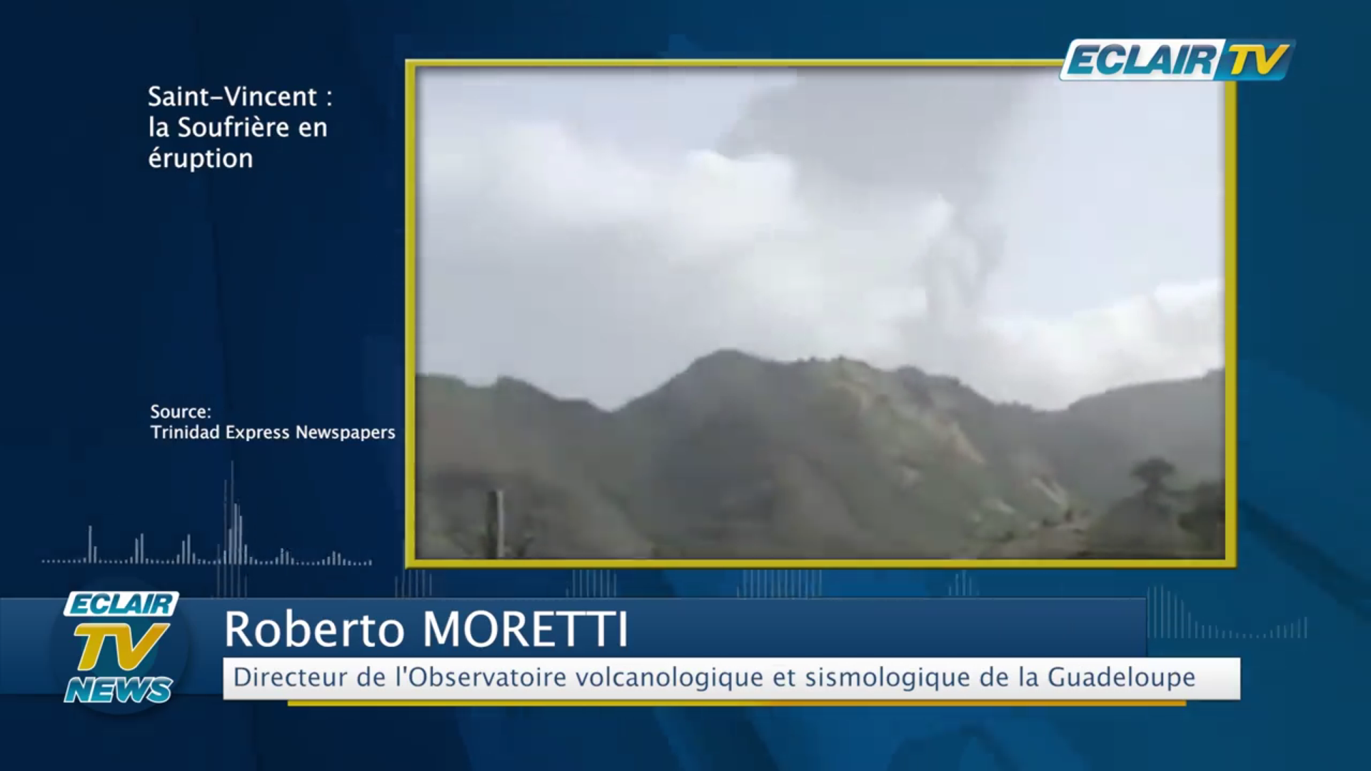 [Vidéo] Éruption à St Vincent. Réaction de Robert MORETTI Directeur de l OBVS Guadeloupe (ECLAIR TV)