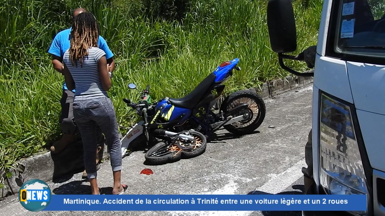 [Vidéo] Onews Martinique. Accident de la circulation à Trinité entre une voiture légère et un 2 roues