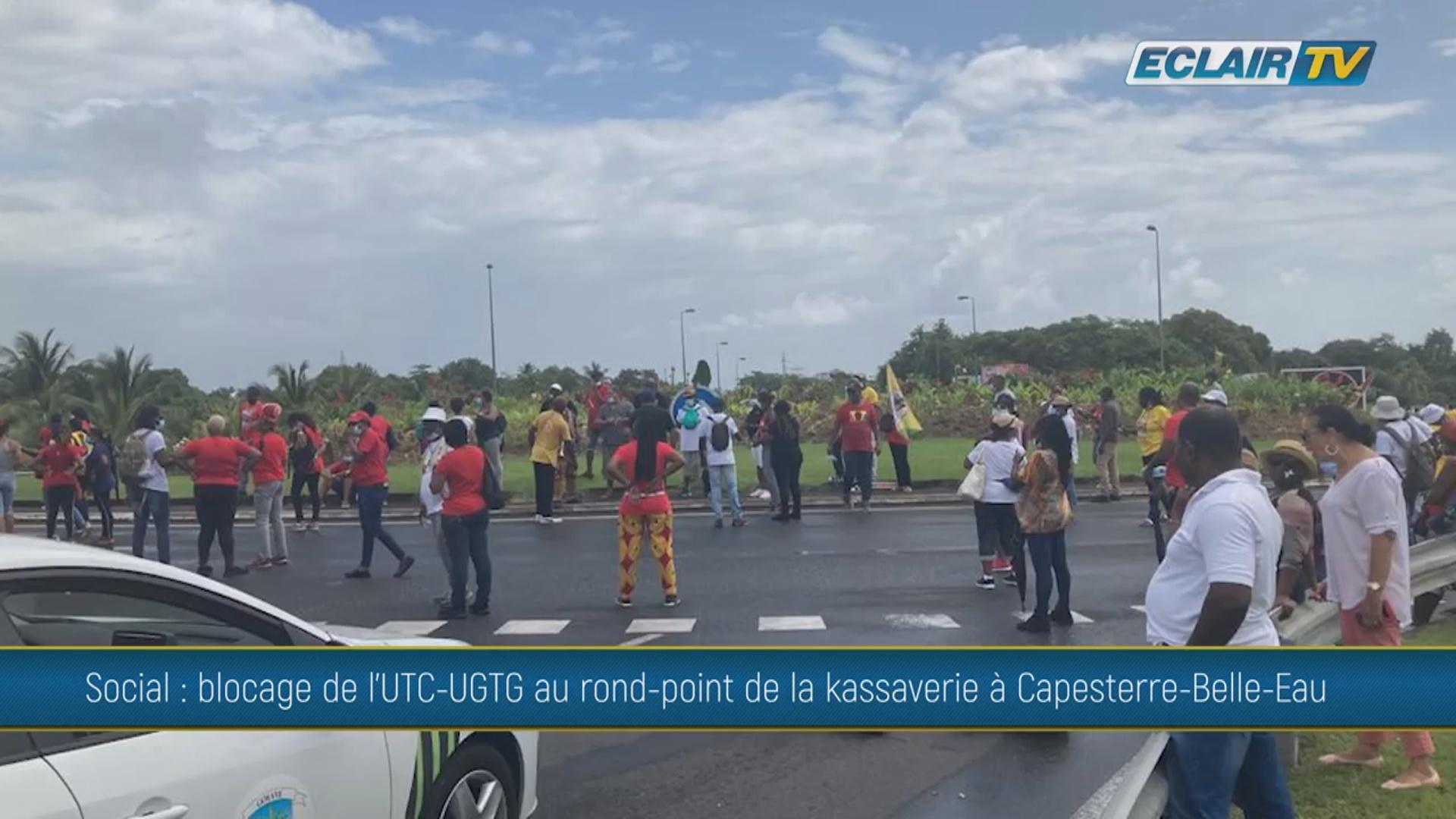 Onews Guadeloupe. Le rond point de la Kassaverie à Capesterre bloqué par l UTC UGTG (ECLAIR TV)